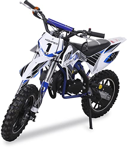 Kinder Mini Crossbike Gazelle 49 cc 2-takt inklusive Tuning Kupplung 15mm Vergaser Easy Pull Start verstärkte Gabel Dirt Bike Dirtbike Pocket Cross Mini Bike blau