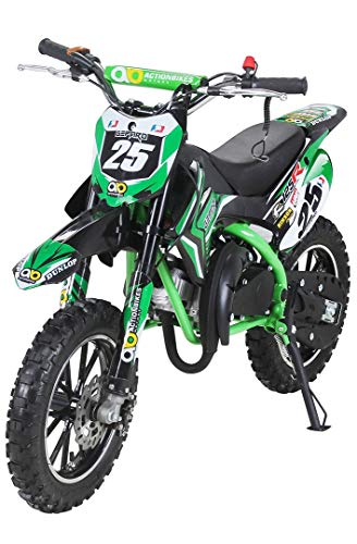 Actionbikes Motors Kinder Mini Crossbike Gepard 49 cc 2-takt inklusive Tuning Kupplung 15mm Vergaser Easy Pull Start verstärkte Gabel Dirt Bike Dirtbike Pocket Cross (Grün)